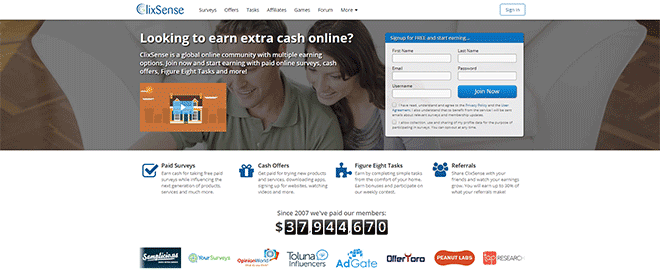 Clixsense survey site homepage