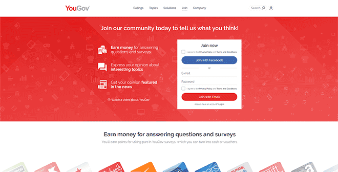 YouGov sign up homepage