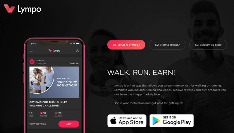 Lympo app homepage
