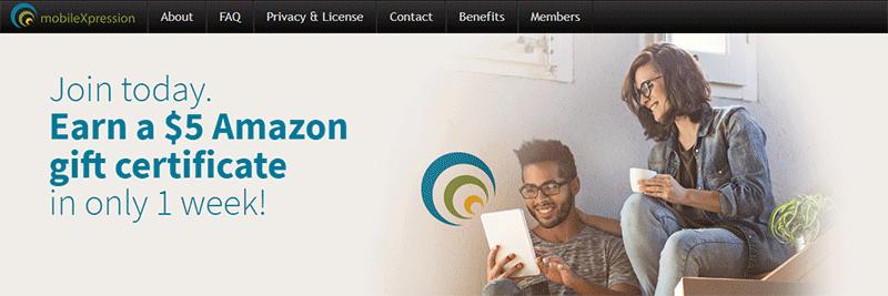 MobileXpression free $5 Amazon card