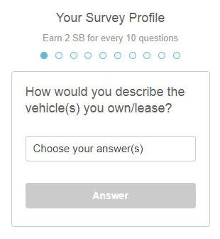 Profilo dei sondaggi Swagbucks