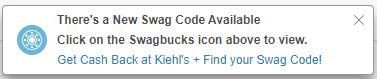 Notifica popup del codice Swag