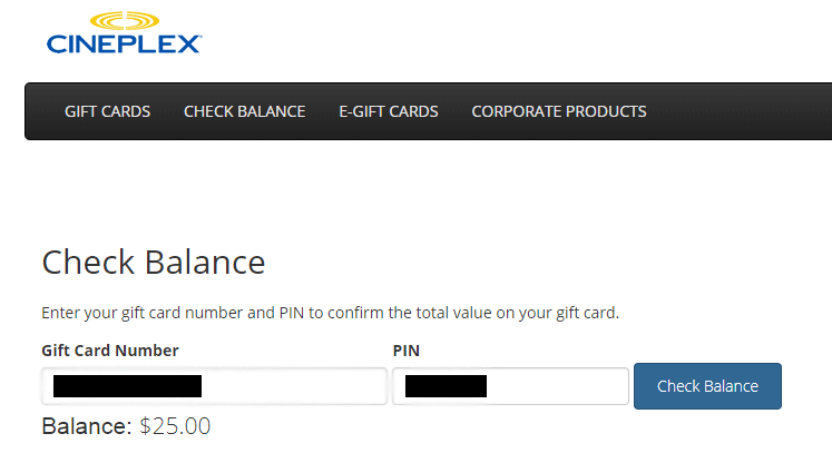 Cineplex balance proof showing $25 on gift card