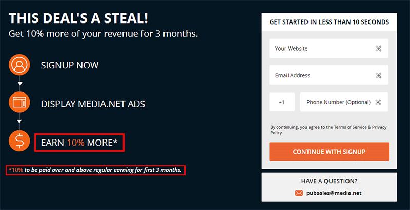 Media.net sign up bonus