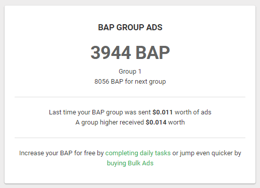 My Paidverts account showing 3944 BAP