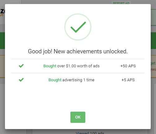 Unlocking two achievements in Paidverts