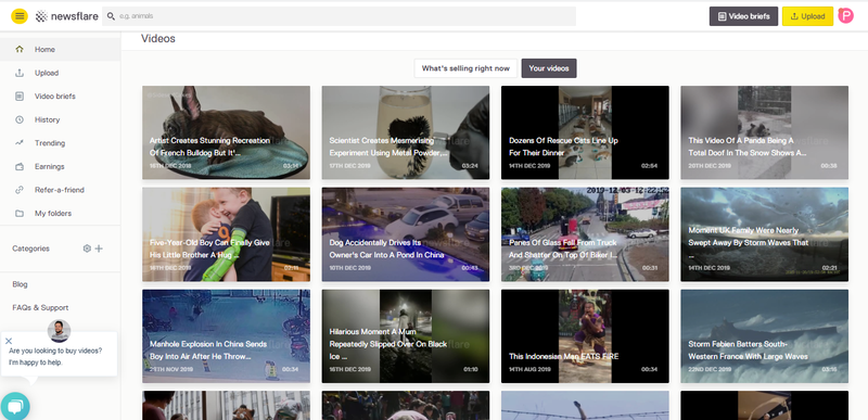 Popular videos on Newsflare dashboard
