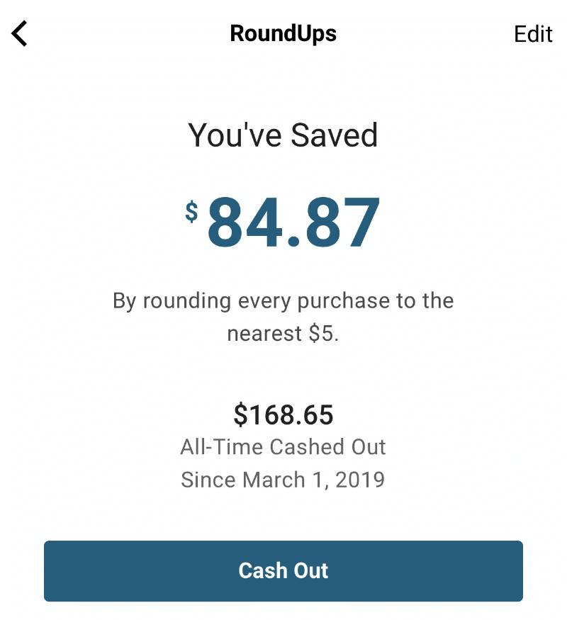 Money saved using RoundUps