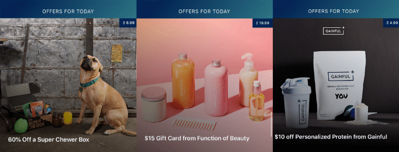 60% off a super chewer box, $15 gift card from Function of Beauty, and $10 off Personalized Protein from Gainful daily offers.