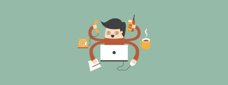 Guy multitasking on computer