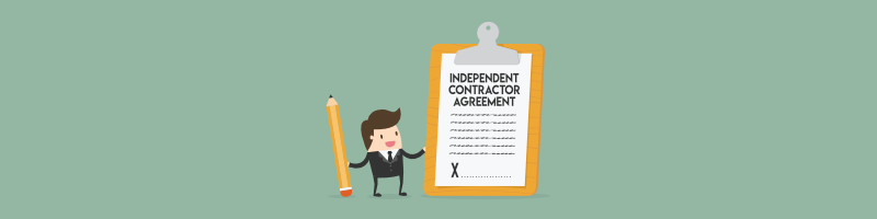 Cartoon business man holding a pencil next to big independent contractor agreement