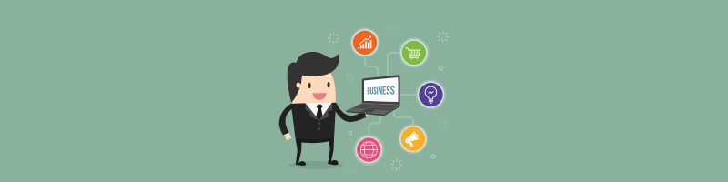 Cartoon man holding a laptop that says business on it with business icons around it