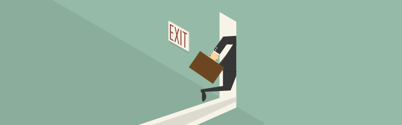 Guy quitting job leaving out of exit door