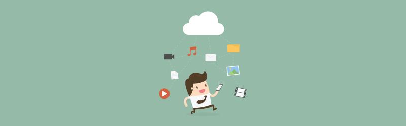 Cartoon guy using smartphone apps