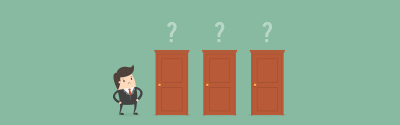 Animated business character unsure of which door to open