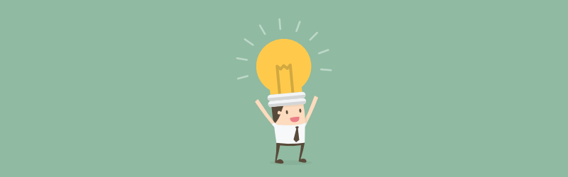 Business man with lightbulb on head