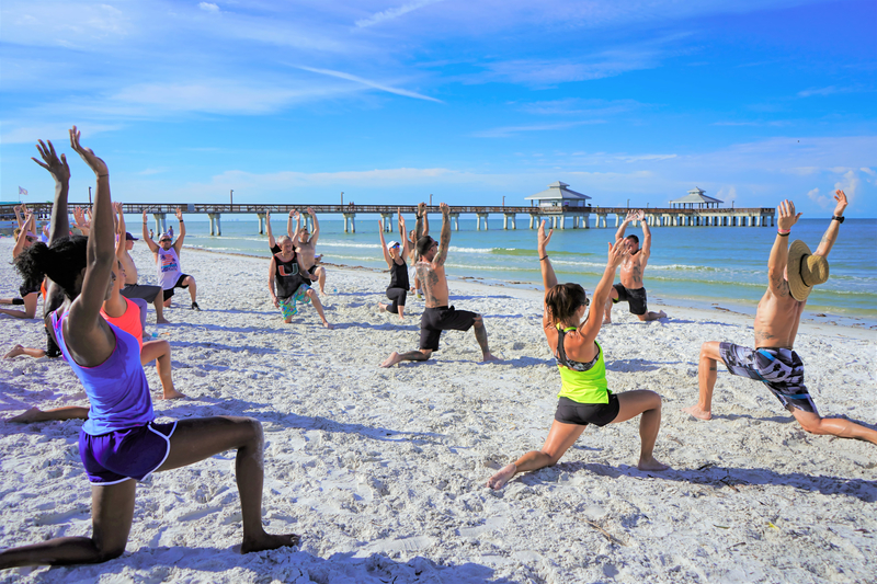 Personal training bootcamp on the beach