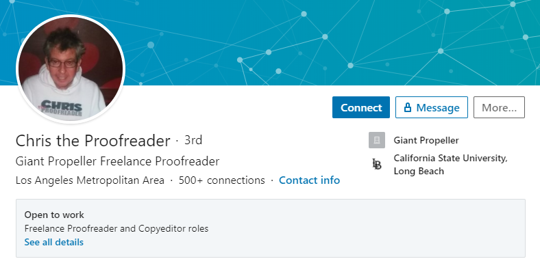 An example of a good Proofreader profile on LinkedIn