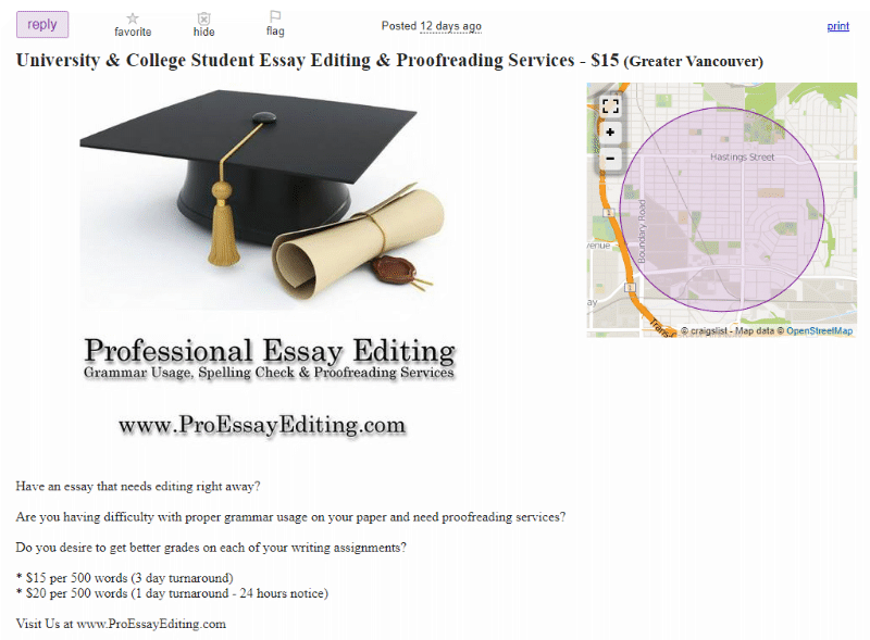 Craigslist proofreading and editing services ad