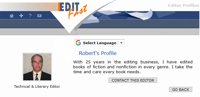 Example proofreader/editor web page on editfast