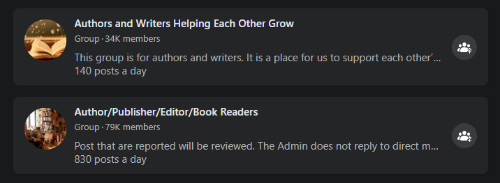 Facebook groups for authors that could potentially have proofreading and editing jobs
