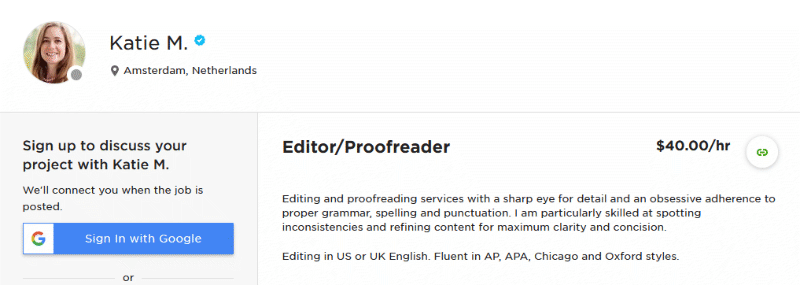 Editor/Proofreader profile on Upwork