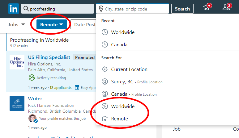 How to sort for remote jobs on LinkedIn