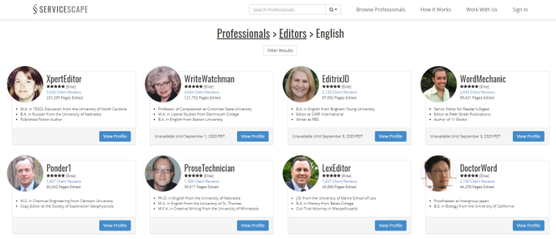 ServiceScape directory of English editors