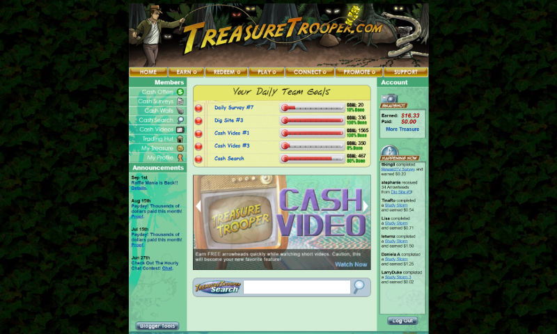 Treasure Trooper homepage for logged in users