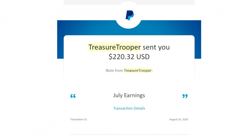Treasure Trooper $200 paypal payment proof