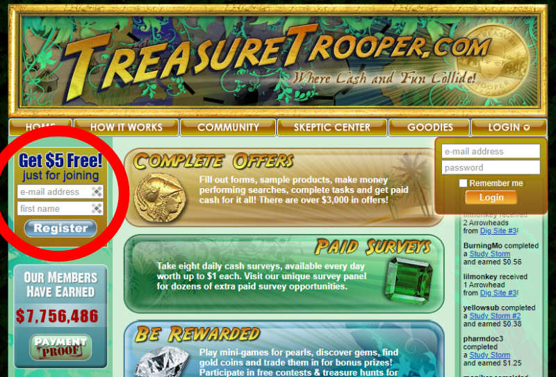 Click for Treasure Trooper sign up bonus