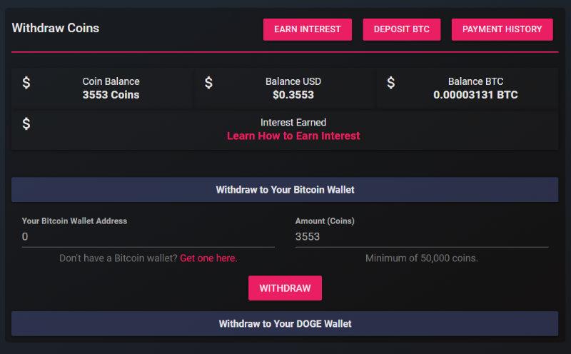 Crypto payout screen