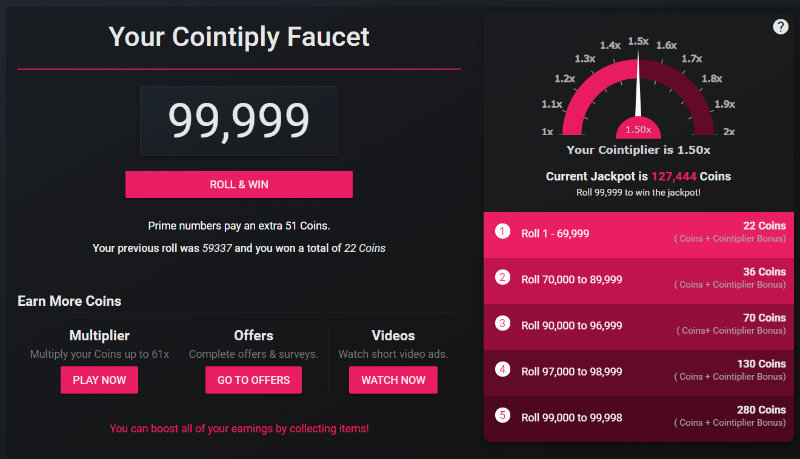 Cointiply faucet