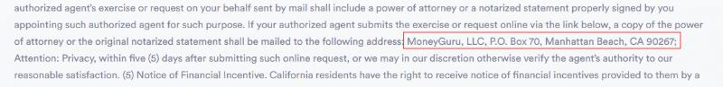 MoneyGuru privacy policy lists the address P.O Box 70, Mangattan Beach, CA 90267