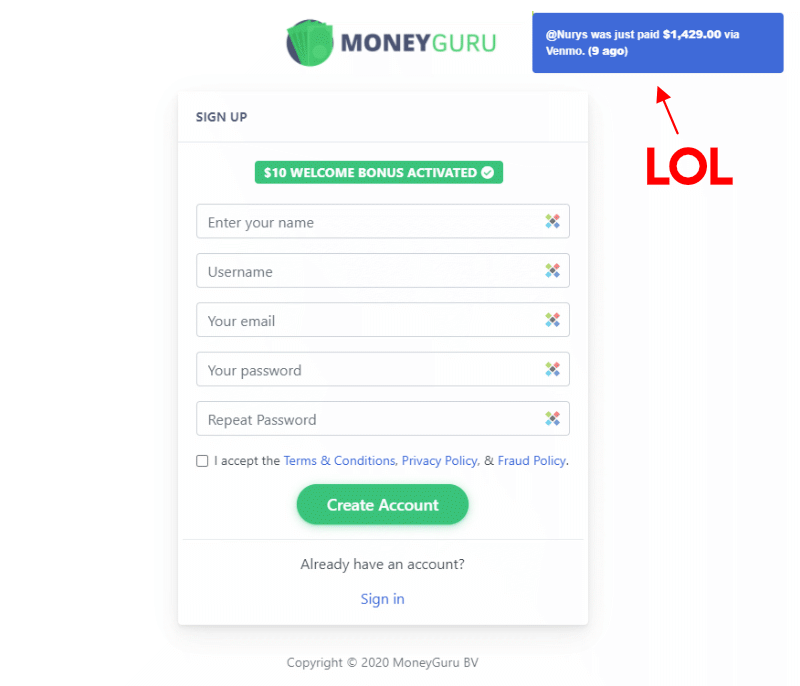 MoneyGuru scam GPT site sign up page