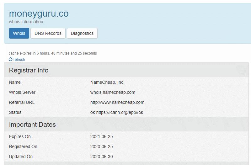 MoneyGuru Registrar info and dates on Who.is