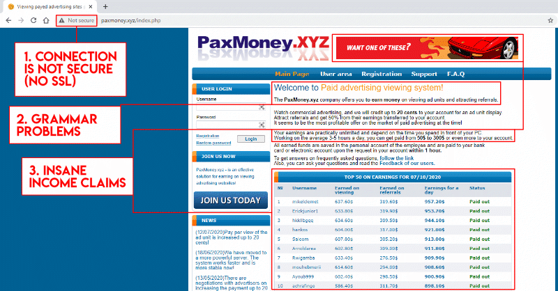 PaxMoney homepage obvious scam