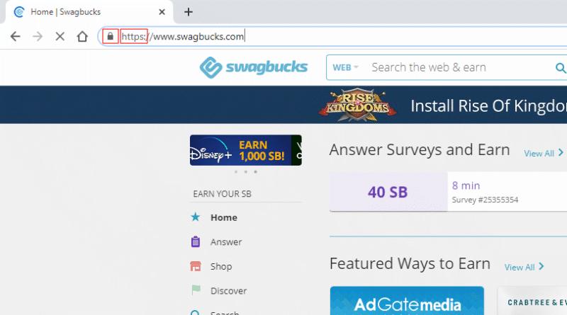 Swagbucks has a valid SSL certificate