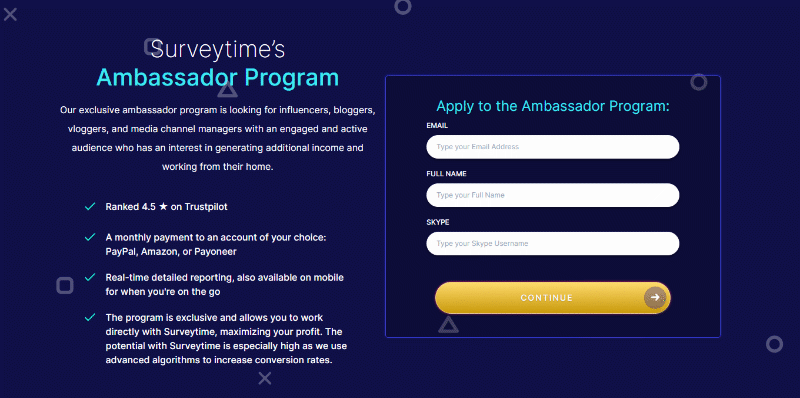 Surveytime ambassador application form