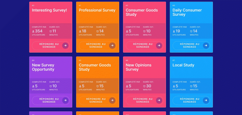 Surveytime available surveys dashboard