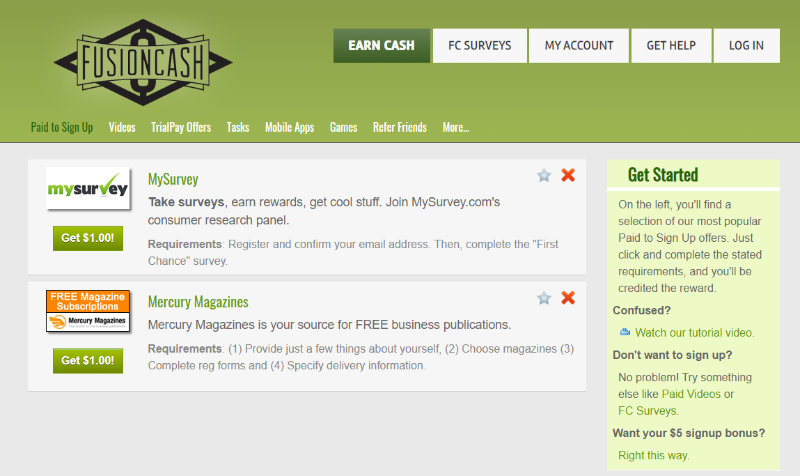 FusionCash homepage