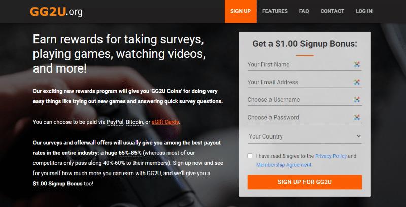 GG2u free $1 sign up bonus