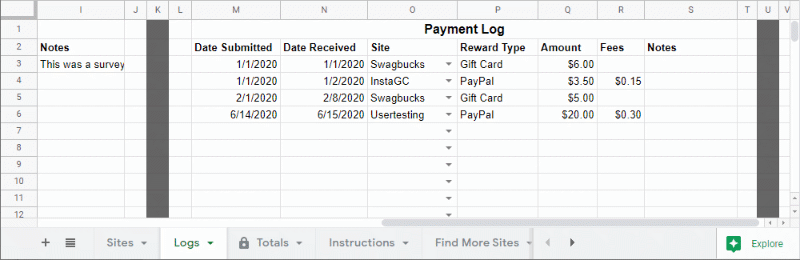 Payment log example data