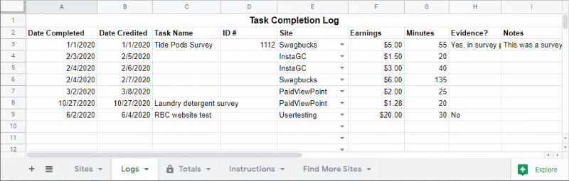 Task completion log example data