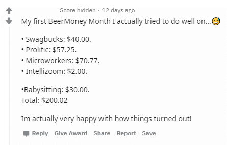 Redditor with over $200 in earnings from GPT sites and other opportunities