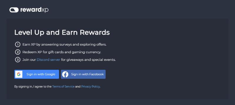 RewardXP homepage
