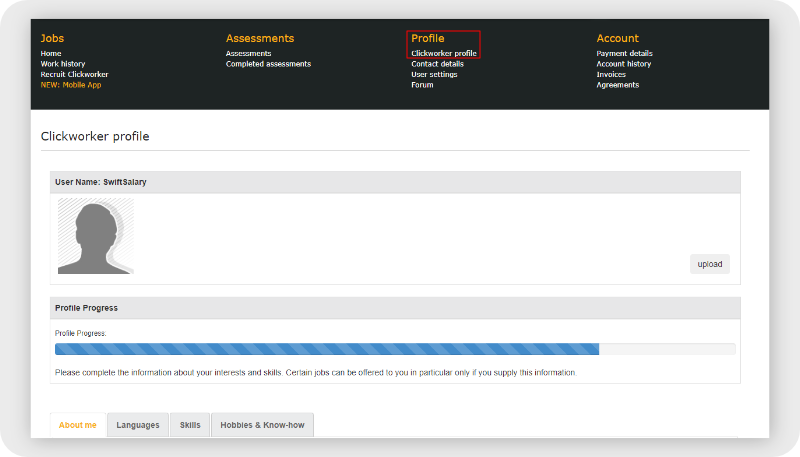 Clickworker profile page preview