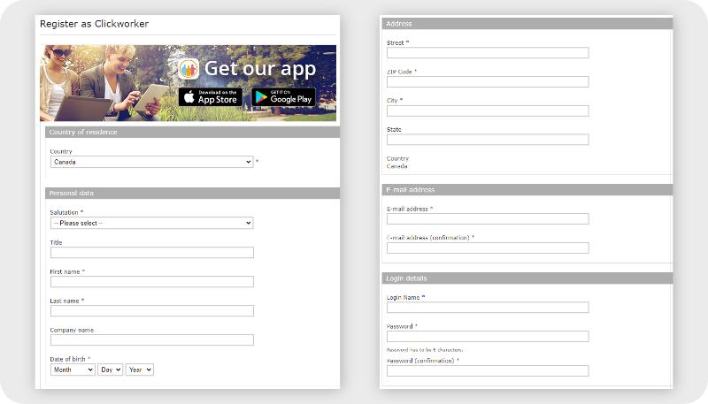 Clickworker registration form preview