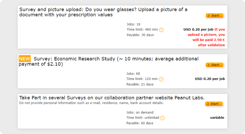 Clickworker survey job examples on dashboard