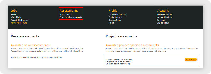 Clickworker UHRS assessment qualification location